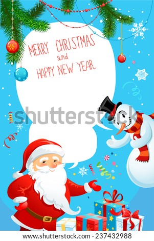 Merry Christmas poster with Santa Claus and snowman. Copy space. - stock vector