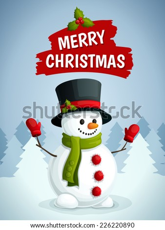 Merry christmas poster with snowman in scarf gloves and hat on winter forest background vector illustration. - stock vector