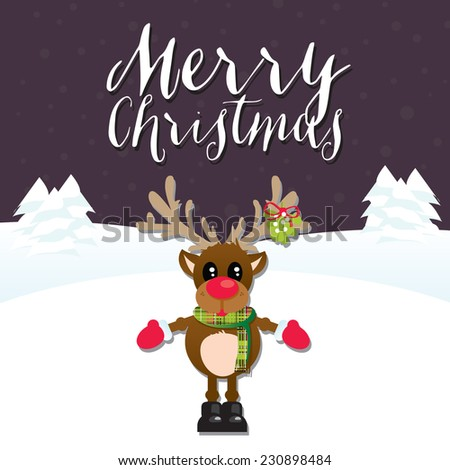 Merry Christmas Reindeer on a Purple Snowy Background with Merry Christmas Text - stock vector
