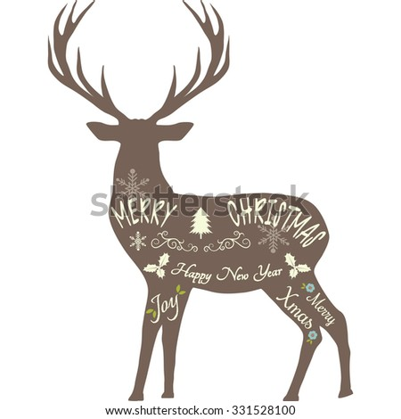Merry Christmas Reindeer,Reindeer silhouette,Brown reindeer isolated. - stock vector