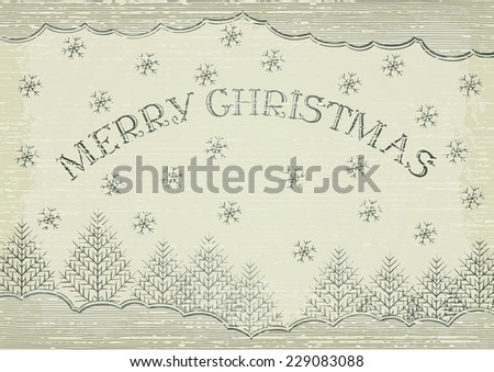 Merry christmas! Retro christmas background with  snowflakes, fir trees and inscription - Merry Christmas! - stock vector