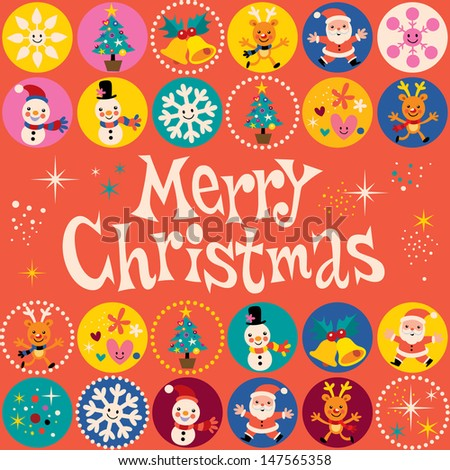 Merry Christmas retro greeting card - stock vector
