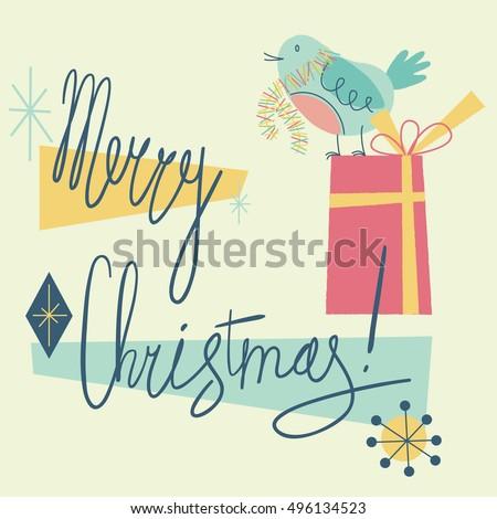 merry christmas retro holiday card cute stock vector royalty free