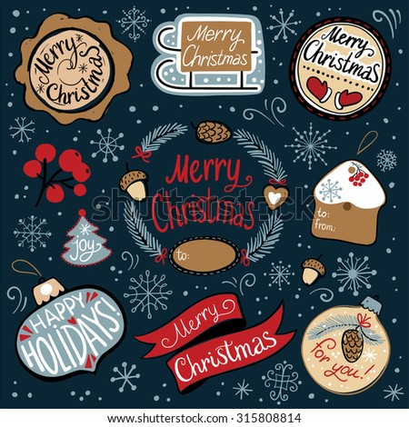 Merry Christmas Retro Icons, Elements And Illustrations Set. Christmas typography, handwriting. Design gifts - stock vector