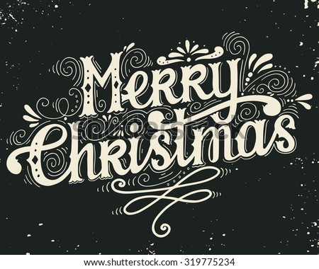 Merry Christmas retro poster with hand lettering and decoration elements. This illustration can be used as a greeting card, poster or print. - stock vector