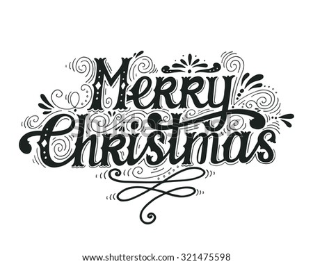 christmas greeting card merry christmas lettering stock