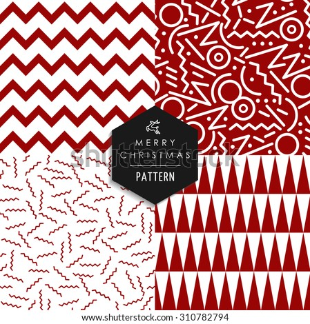 Merry Christmas retro 80s style seamless pattern set. Holiday hipster red and white shapes xmas background. EPS10 vector file. - stock vector