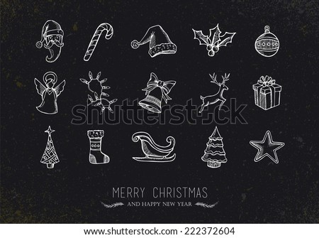 Merry Christmas retro vintage sketch style icon set over grunge blackboard. EPS10 vector file organized in layers for easy editing.  - stock vector