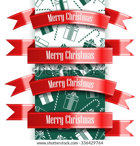Merry Christmas ribbon set and seamless pattern. New Year concept. Vector Illustration - stock vector