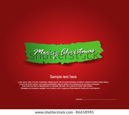 Merry Christmas ripped paper - stock vector