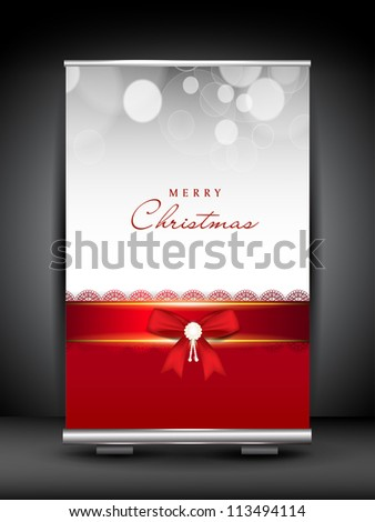 Merry Christmas roll up stand banner. EPS 10. - stock vector