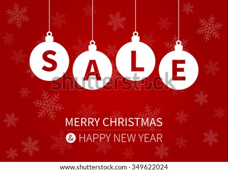 Merry Christmas sale promotion display poster / postcard - stock vector
