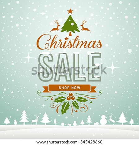 Merry Christmas sale winter greeting card concept on snow background, vector illustration