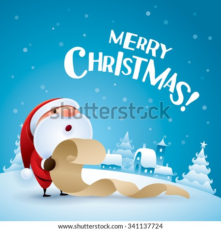 Merry Christmas! Santa Claus checking list in Christmas snow scene.  - stock vector
