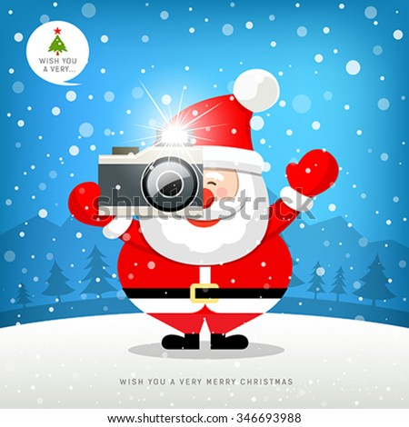 Merry christmas Santa claus hand holding photo camera on snow with blue background. Vector illustration