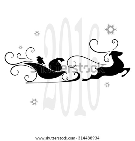 Merry Christmas, Santa Claus in a sleigh, snowflakes, vector illustration - stock vector
