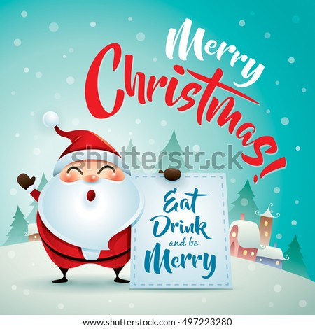 Merry Christmas! Santa Claus in Christmas snow scene. Christmas greeting card.