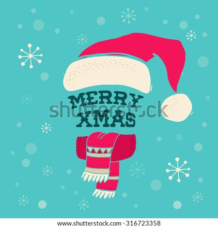 Merry Christmas - Santa Claus knitted hat. Greeting card with lettering - stock vector