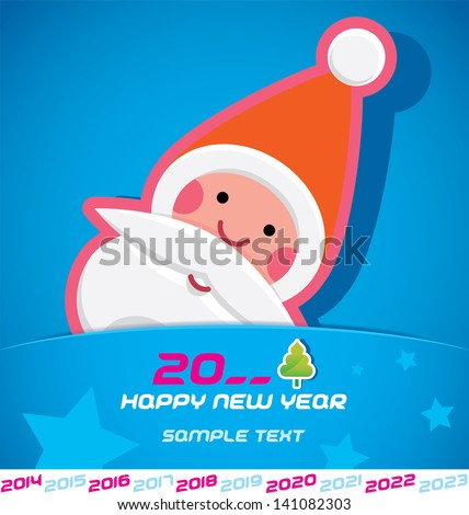 Merry Christmas, Santa Claus, New year 2014, 2015, 2016, 2017, 2018, 2019, 2020, 2021, 2022, 2023 Card, Badge, Icon, Symbol