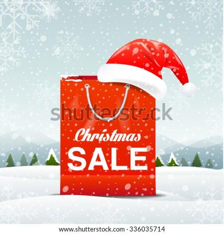 Merry Christmas ,santa claus , shopping bag, sale, vector Illustration - stock vector