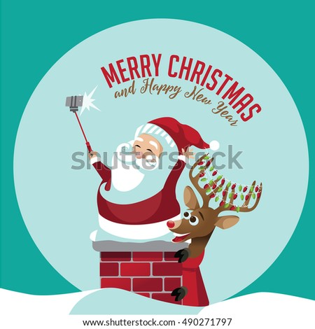 Merry Christmas Santa Claus taking a selfie with his reindeer on the rooftop. EPS 10 vector.