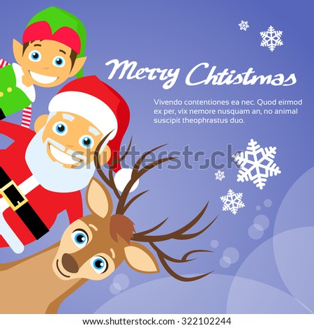 Merry Christmas Santa Clause Reindeer Elf Character Poster Greeting Card Flat Vector Illustration - stock vector
