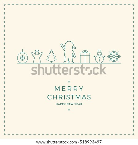 merry christmas santa ornament line icon card background
