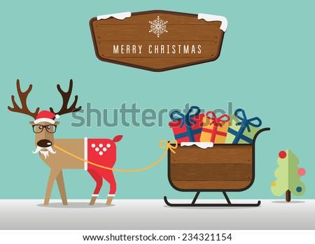 Merry Christmas scene  with reindeer , santa's sleigh and wood badge - stock vector