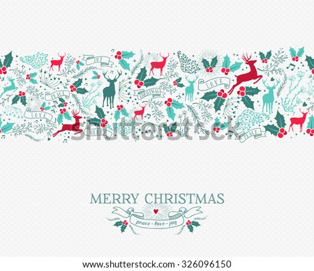 Merry christmas seamless pattern background with nature reindeer and holly shapes. Ideal for holiday greeting card or xmas invitation. - stock vector