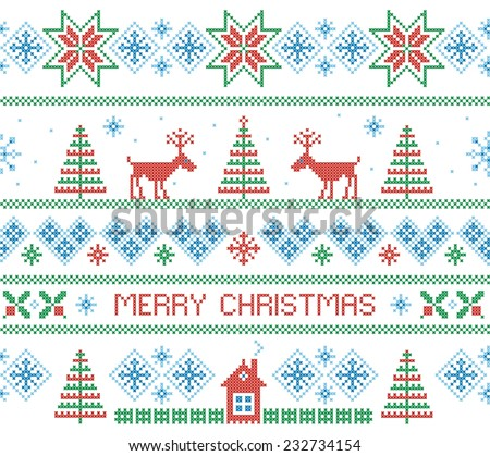 Merry Christmas. Seamless pattern. Vector illustration. - stock vector