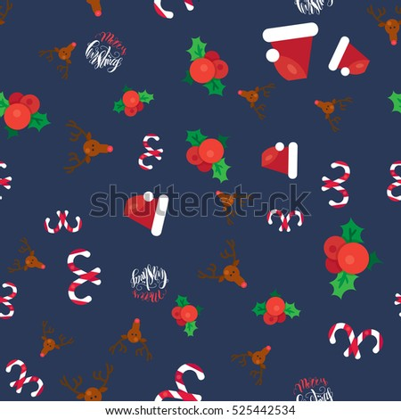 Merry Christmas Seamless Pattern With Hand Drawn Lettering, Happy Xmas Deer, Santa Claus Hat, Holly berries, Caramel Wand. Design Elements for invitation, greeting, card, sticker, print. Vector