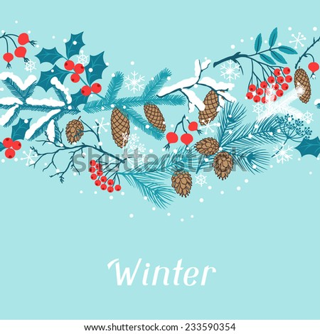 Merry Christmas seamless pattern with winter branches. - stock vector