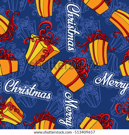 Merry Christmas seamless vector background with a gift boxes.