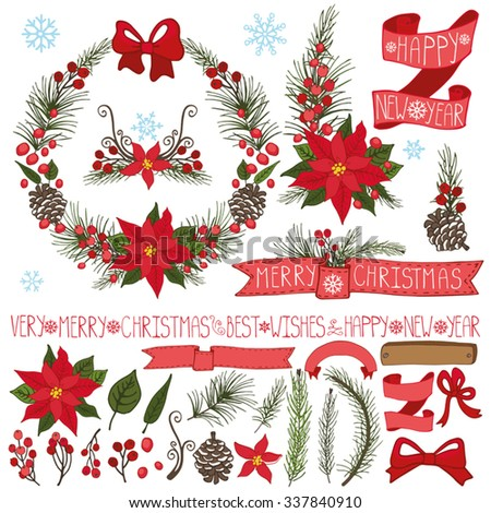 Merry Christmas season ,New year decoration set.Spruce fir tree branches,pine cones ,red berries,Poinsettia flower,holly,ribbons,lettering.Holiday composition,wreath.Vector Illustration,greeting cards - stock vector