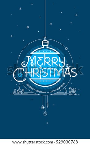 Merry Christmas, Season's greetings and Happy New Year. Greeting card. Vector illustration