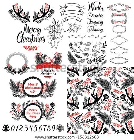 Merry Christmas set - stock vector
