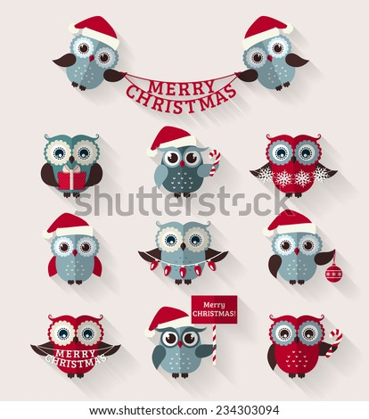 Merry Christmas! Set of cute flat owls for holiday design. Vector icons with long shadow.  - stock vector