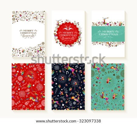 Merry christmas set of seamless xmas reindeer patterns in colorful low poly style and text templates. Ideal for holiday greeting cards, print, or wrapping paper. EPS10 vector file. - stock vector