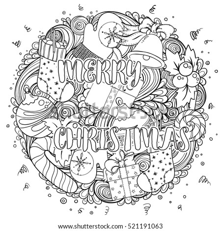 Merry Christmas Set Of Xmas Monochrome Pattern And Text Templates Idea For Holiday Greeting Cards