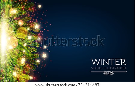 Merry Christmas Shining Background. Elegant New Year Decoration with Realistic Fir Tree Branches, Stars, Gold Garlands and Shining Lights. Vector illustration