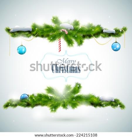 Merry Christmas Shiny Greeting Card. Vector Illustration. - stock vector