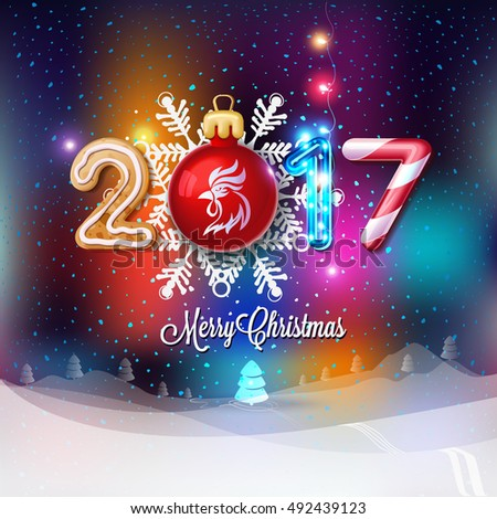 merry christmas sign 2017 decoration poster stock vector 492439123