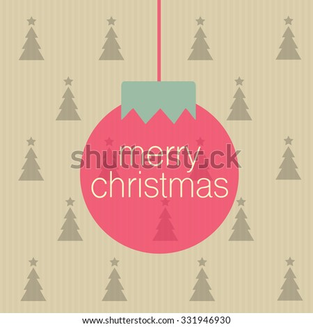 Merry Christmas sign on the pink ball - stock vector