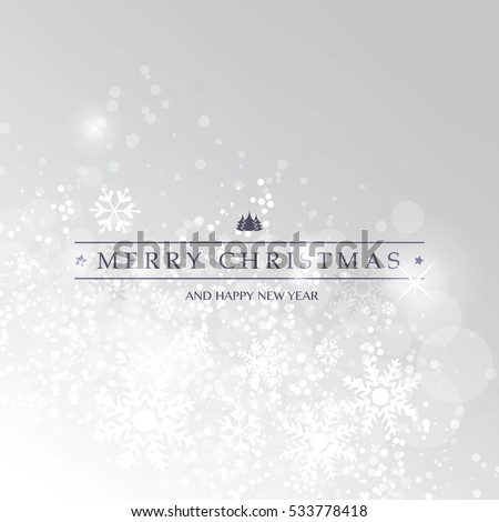 Merry Christmas - Silver Grey Modern Style Happy Holidays Greeting Card   Sparkling Bright Blurred Background