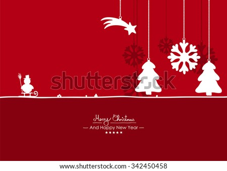 Merry Christmas - Simple Red Vector Greeting and Christmas Card Template Silhouettes - Handwritten Greeting Text - New Years Eve Background. Snowman, Falling Star, Fir Tree, Snowflake - Symbols - stock vector