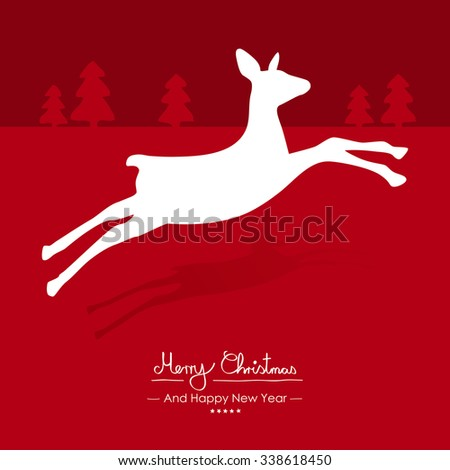 Merry Christmas - Simple Red Vector Greeting and Christmas Card Template with Shapes - Handwritten Greeting Text - Seasonal New Years Eve Background - XMas, X-Mas. Jumping Cute Fawn Silhouette - stock vector
