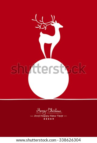 Merry Christmas - Simple Red Vector Greeting and Christmas Card Template with Shapes - Handwritten Greeting Text - Seasonal New Years Eve Background - Abstract Fawn on White Snowball - Circle, Ball - stock vector
