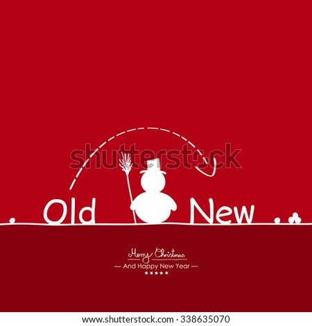 Merry Christmas - Simple Red Vector Greeting and Christmas Card Template with Shapes - Handwritten Greeting Text - Seasonal New Years Eve Background - XMas, X-Mas. Snowman, Snowballs and Old New Text - stock vector