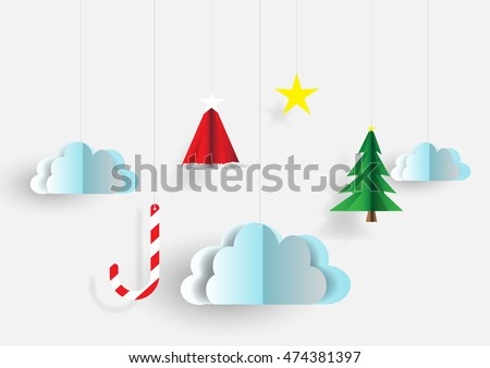 Merry christmas sky background paper cut style.vector,illustration design