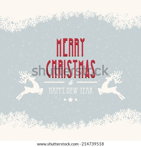 merry christmas snow background - stock vector